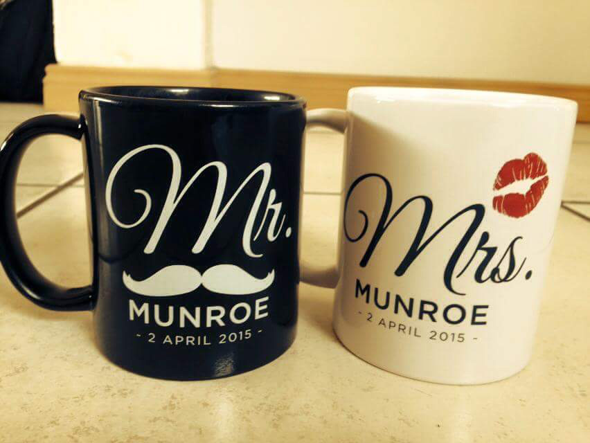 Mr and Mrs heat transfer mug wedding gift