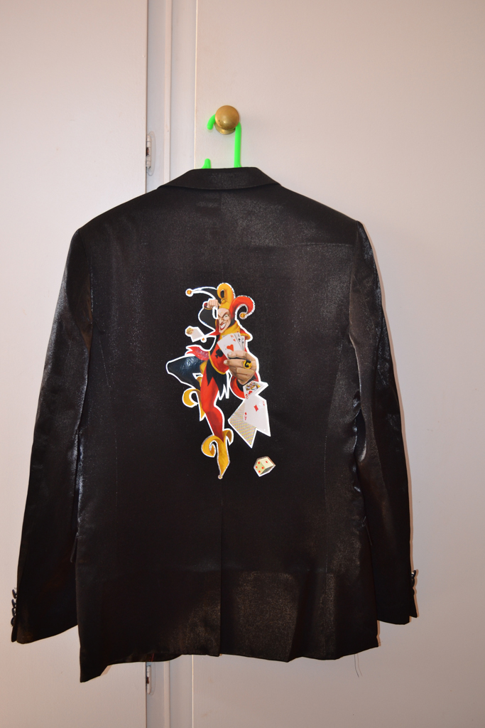 Heat Transfer Print With Silver Edging Onto Suit Jacket