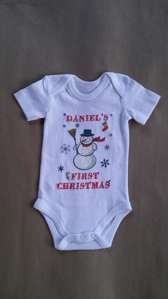 Personalised 'First Christmas' Baby Grow