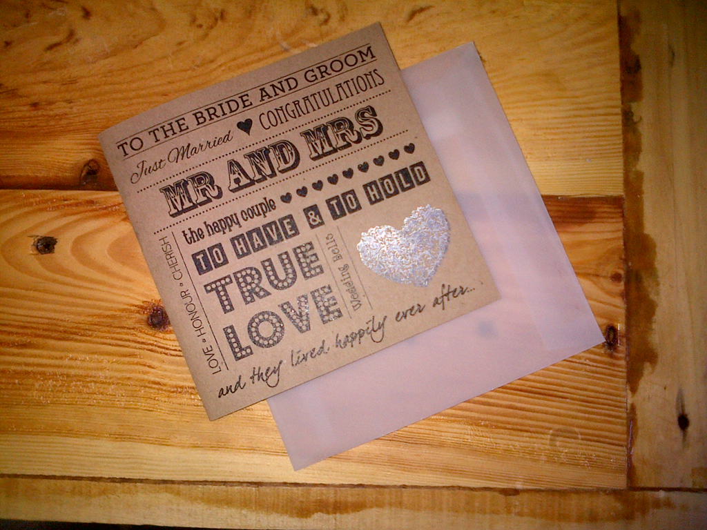 Printed Wedding Card With Foil Heart Detail